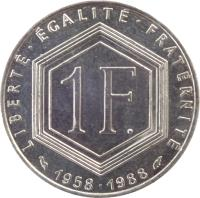 reverse of 1 Franc - 30th Anniversary of Fifth Republic (1988) coin with KM# 963 from France. Inscription: LIBERTÉ · EGALITÉ · FRATERNITÉ 1 F. 1958 · 1988