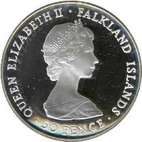 obverse of 50 Pence - Elizabeth II - Liberation - Silver Proof Issue (1982) coin with KM# 18a from Falkland Islands. Inscription: QUEEN ELIZABETH II · FALKLAND ISLANDS · 50 PENCE ·