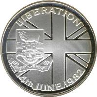 reverse of 50 Pence - Elizabeth II - Liberation - Silver Proof Issue (1982) coin with KM# 18a from Falkland Islands. Inscription: LIBERATION DESIRE THE RIGHT 14th JUNE 1982