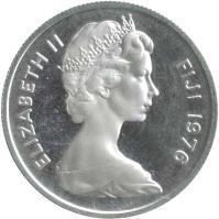obverse of 5 Cents - Elizabeth II - 2'nd Portrait (1976) coin with KM# 29a from Fiji. Inscription: ELIZABETH II FIJI 1976