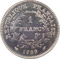 reverse of 1 Franc - Estates General (1989) coin with KM# 967 from France. Inscription: REPUBLIQUE FRANÇAISE. 1 FRANC 1989