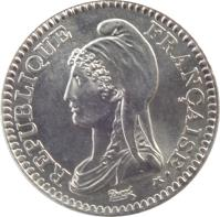 obverse of 1 Franc - 200th Anniversary of French Republic (1992) coin with KM# 1004.1 from France. Inscription: REPUBLIQUE FRANÇAISE Dupré
