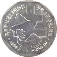 obverse of 2 Francs - Jean Moulin (1993) coin with KM# 1062 from France. Inscription: · RÉPUBLIQUE FRANÇAISE · 1993 JEAN MOULIN ER