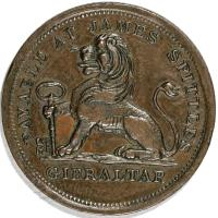 obverse of 2 Quartos - James Spittles (1820) coin with KM# Tn9 from Gibraltar. Inscription: PAYABLE AT JAMES SPITTLE'S GIBRALTAR