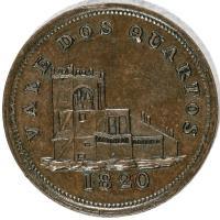 reverse of 2 Quartos - James Spittles (1820) coin with KM# Tn9 from Gibraltar. Inscription: VALE DOS QUARTOS 1820