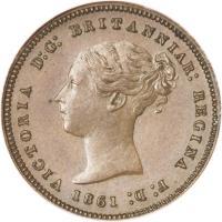 obverse of 1/2 Quart - Victoria (1842 - 1861) coin with KM# 1 from Gibraltar. Inscription: VICTORIA D:G: BRITANNIAR: REGINA F:D: 1861