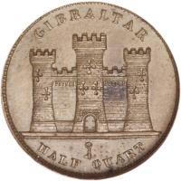 reverse of 1/2 Quart - Victoria (1842 - 1861) coin with KM# 1 from Gibraltar. Inscription: GIBRALTAR HALF QUART