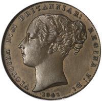 obverse of 1 Quart - Victoria (1841 - 1861) coin with KM# 2 from Gibraltar. Inscription: VICTORIA D:G: BRITANNIAR: REGINA F: D: 1841