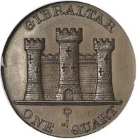 reverse of 1 Quart - Victoria (1841 - 1861) coin with KM# 2 from Gibraltar. Inscription: GIBRALTAR ONE QUART