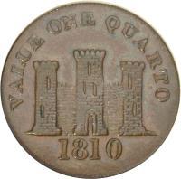 reverse of 1 Quarto - Robert Keeling (1810) coin with KM# Tn3 from Gibraltar. Inscription: VALUE ONE QUARTO 1810