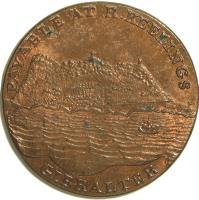 obverse of 2 Quartos - Robert Keeling (1802) coin with KM# Tn2 from Gibraltar. Inscription: PAYABLE AT R. KEELINGS GIBRALTAR
