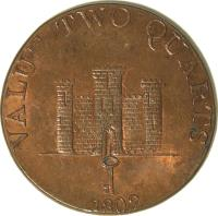 reverse of 2 Quartos - Robert Keeling (1802) coin with KM# Tn2 from Gibraltar. Inscription: VALUE TWO QUARTS 1802