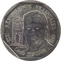 obverse of 2 Francs - Louis Pasteur (1995) coin with KM# 1119 from France. Inscription: RÉPUBLIQUE FRANÇAISE P. RODIER 1822 Louis PASTEUR 1895