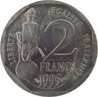 reverse of 2 Francs - Louis Pasteur (1995) coin with KM# 1119 from France. Inscription: LIBERTÉ ÉGALITÉ FRATERNITÉ 2 FRANCS 1995