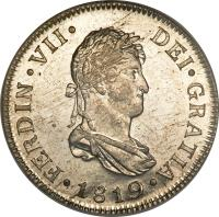 obverse of 2 Reales - Fernando VII (1808 - 1821) coin with KM# 67 from Guatemala.