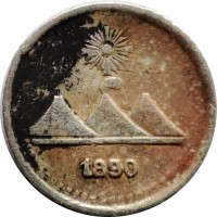 obverse of 1/4 Real (1889 - 1891) coin with KM# 158 from Guatemala.