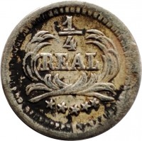 reverse of 1/4 Real (1889 - 1891) coin with KM# 158 from Guatemala.