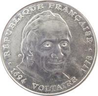 obverse of 5 Francs - Voltaire (1994) coin with KM# 1063 from France. Inscription: · RÉPUBLIQUE FRANÇAISE · 1694 VOLTAIRE 1778