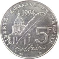 reverse of 5 Francs - Voltaire (1994) coin with KM# 1063 from France. Inscription: LIBERTÉ · ÉGALITÉ · FRATERNITÉ 1994 5F Voltaire