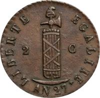 obverse of 2 Centimes (1828 - 1842) coin with KM# A22 from Haiti. Inscription: LIBERTE EGALITE AN 37