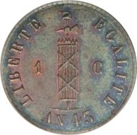obverse of 1 Centime (1846) coin with KM# 24 from Haiti. Inscription: LIBERTE EGALITE 1 C AN 43