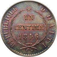 reverse of 1 Centime (1846) coin with KM# 24 from Haiti. Inscription: REPUBLIQUE D'HAITI UN CENTIME 1846