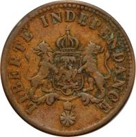 obverse of 2 Centimes - Faustin I - Imperial Coinage (1850) coin with KM# 36 from Haiti. Inscription: LIBERTE INDEPENDANCE