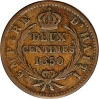 reverse of 2 Centimes - Faustin I - Imperial Coinage (1850) coin with KM# 36 from Haiti. Inscription: EMPIRE D'HAITI DEUX CENTIMES 1850