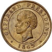 obverse of 10 Centimes (1863) coin with KM# 40 from Haiti. Inscription: GEFFRARD PRESIDENT 1863