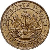 reverse of 10 Centimes (1863) coin with KM# 40 from Haiti. Inscription: REPUBLIQUE D'HAITI DIX CENTIMES
