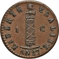 obverse of 1 Centime (1828 - 1842) coin with KM# A21 from Haiti. Inscription: LIBERTE EGALITE AN 38