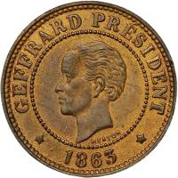 obverse of 5 Centimes (1863) coin with KM# 39 from Haiti. Inscription: GEFFRARD PRESIDENT * 1863 *