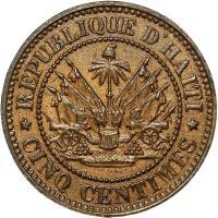reverse of 5 Centimes (1863) coin with KM# 39 from Haiti. Inscription: REPUBLIQUE D'HAITI * CINQ CENTIMES *