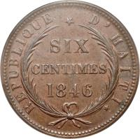 reverse of 6 Centimes (1846) coin with KM# 28 from Haiti.