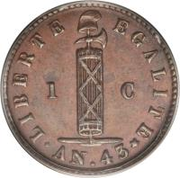 obverse of 1 Centime (1846) coin with KM# 25 from Haiti.