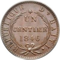 reverse of 1 Centime (1846) coin with KM# 25 from Haiti.
