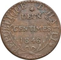 reverse of 2 Centimes (1846) coin with KM# 27 from Haiti.