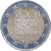 obverse of 2 Euro - French Presidency of the EU (2008) coin with KM# 1459 from France. Inscription: 2008 PRÉSIDENCE FRANÇAISE UNION EUROPÉENNE RF