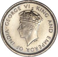obverse of 5 Cents - George VI (1937) coin with KM# 20 from Hong Kong. Inscription: · GEORGE VI KING AND EMPEROR OF INDIA