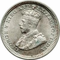 obverse of 5 Cents - George V (1932 - 1933) coin with KM# 18 from Hong Kong. Inscription: GEORGE V KING AND EMPEROR OF INDIA