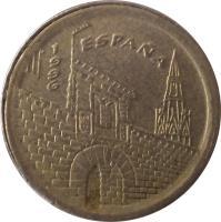 obverse of 5 Pesetas - Juan Carlos I - La Rioja (1996) coin with KM# 960 from Spain. Inscription: ESPAÑA 1996