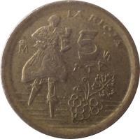 reverse of 5 Pesetas - Juan Carlos I - La Rioja (1996) coin with KM# 960 from Spain. Inscription: 5 PTAS M LA RIOJA