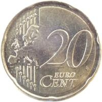 reverse of 20 Euro Cent - 2'nd Map (2007 - 2015) coin with KM# 1411 from France. Inscription: 20 EURO CENT LL
