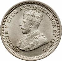 obverse of 5 Cents - George V (1935) coin with KM# 18a from Hong Kong. Inscription: GEORGE V KING AND EMPEROR OF INDIA