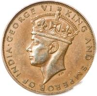 obverse of 1 Cent - George VI (1941) coin with KM# 24 from Hong Kong. Inscription: · GEORGE VI KING AND EMPEROR OF INDIA