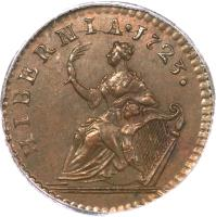 reverse of 1 Farthing - George I - DEI GRATIA (1723 - 1724) coin with SP# 6604 from Ireland. Inscription: HIBERNIA . 1723