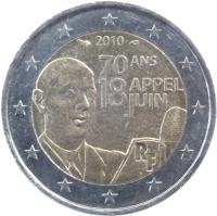 obverse of 2 Euro - Appeal of 18 June (2010) coin with KM# 1676 from France. Inscription: 2010 70 ANS APPEL 18 JUIN RF