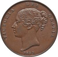 obverse of 1 Penny - Victoria (1839 - 1859) coin with KM# 14 from Isle of Man. Inscription: VICTORIA DEI GRATIA 1839