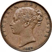 obverse of 1 Farthing - Victoria (1839 - 1864) coin with KM# 12 from Isle of Man. Inscription: VICTORIA DEI GRATIA