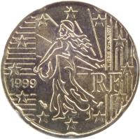 obverse of 20 Euro Cent - 1'st Map (1999 - 2006) coin with KM# 1286 from France. Inscription: RF 1999 L. JORIO d'ap. O. ROTY